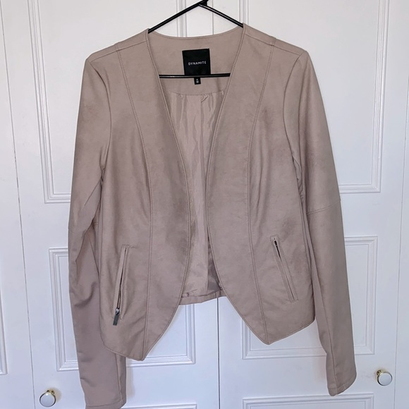 Dusty Pink Leather/Fabric Jacket from Dynamite